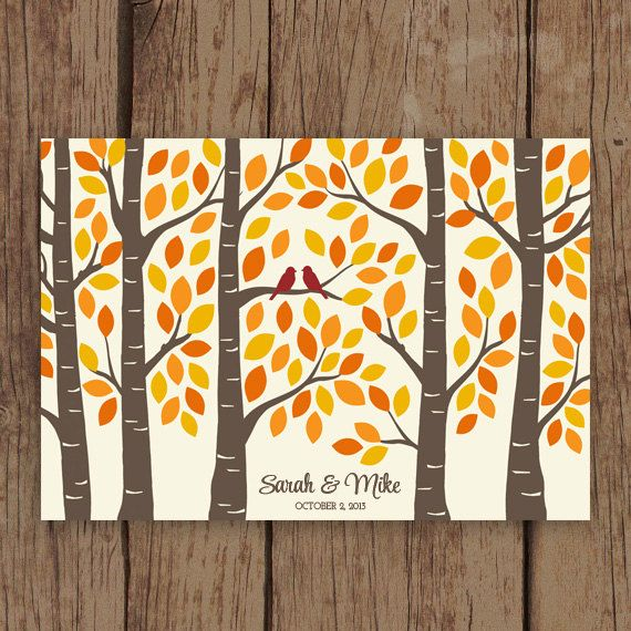 Guest Book Tree - Fall Wedding Guest Book Alternative Poster - Guestbook Tree for 125 Signatures