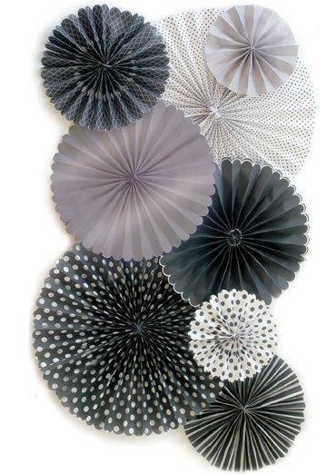 Party Fans | Pom Wheel | Rosettes | Paper Medallions | Black Decor For Weddings, Birthdays or Parties | Tissue Paper Pom wheelp by PomJoyFun on Etsy