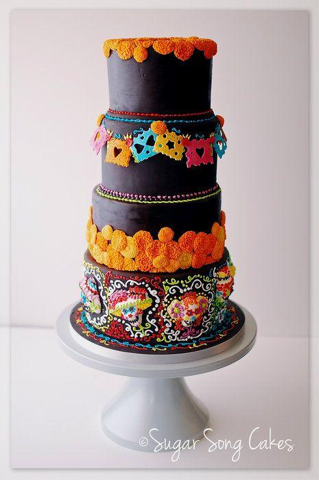 Dia De Los Muertos Wedding Cake Offrenda Table - by lorieleann @ CakesDecor.com - cake decorating website