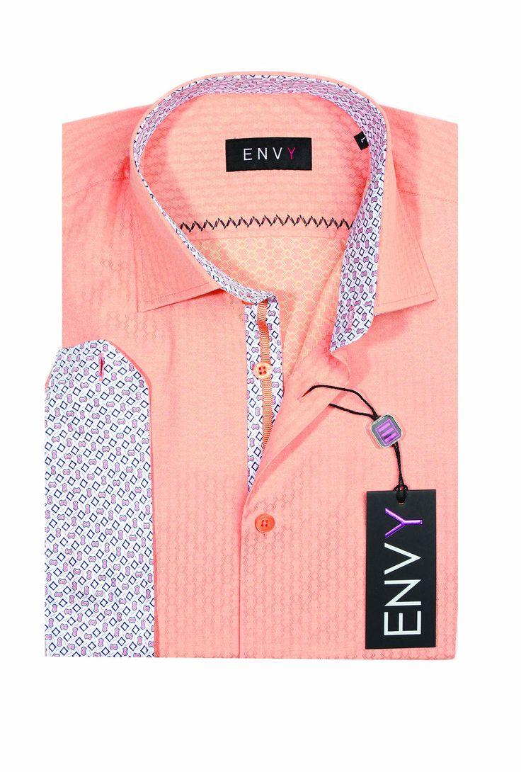 Envy Evolution Men's Long Sleeve Button Front Fashion Dress Shirt-51777 Peach