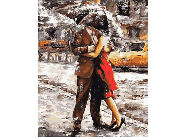 Картина по номерам, раскраска по номерам, paint by numbers, купить картину по номерам - Любовь под дождем, художник Эмерико Тот - Zvetnoe.ru - картины по номерам, картина по цифрам