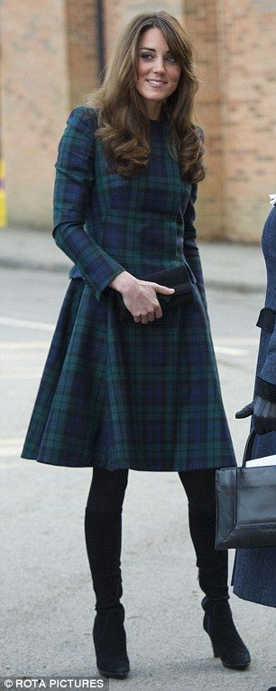 Kate visits  St. Andrews Prep School in Pangbourne, Berkshire 11/30/12.  What a beautiful Tartan coat.