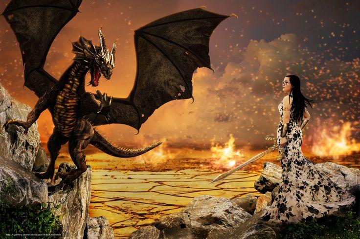 scaricare gli sfondi ragazza,  drago,  surrealismo,  Fantasmagoria Sfondi gratis per la risoluzione del desktop 4272x2848 — immagine №626830