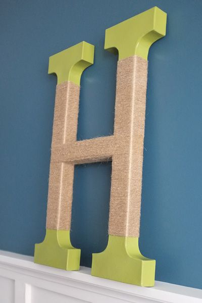 For added texture wrap a monogram letter with jute twine! #DIHWorkshop