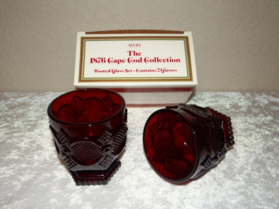 Avon Cape Cod Footed Glasses Ruby Red by TimelessTreasuresbyM & 157 best Avon cape cod dishes images on Pinterest | Ruby red Cod ...