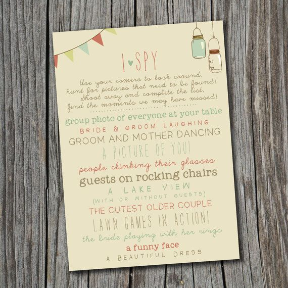 I Spy Wedding Game - Printable, Custom - DIY Wedding - Vintage, Photo Challenge on Etsy, $20.00