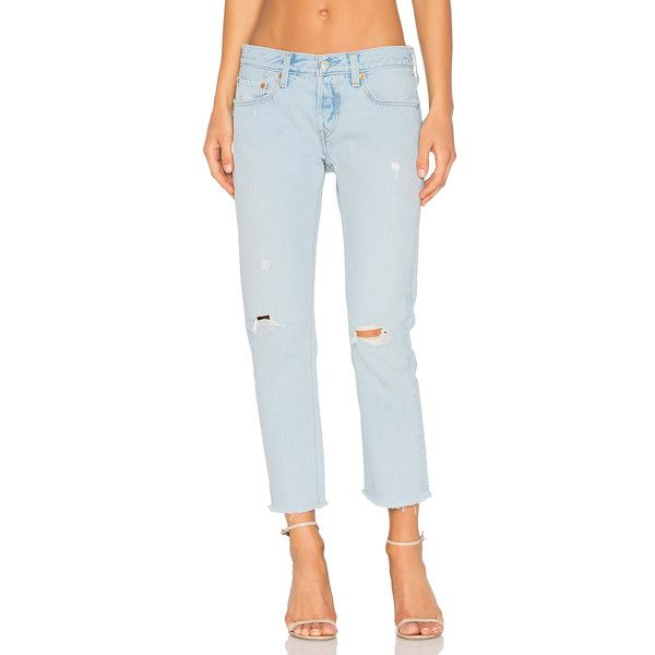 LEVI'S 501 Cropped Taper (115 BAM) ❤ liked on Polyvore featuring pants, capris, jeans, torn pants, button fly pants, tapered fit pants, levi pants and cotton crop pants