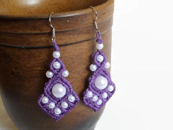 Purple chandelier earrings with white beads by Kreativprodukte