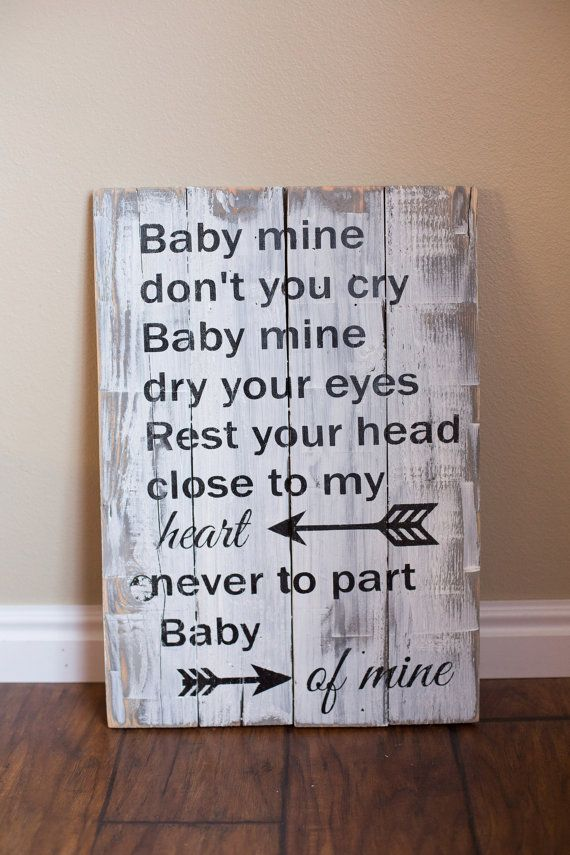 Baby Mine Sign Dumbo Quote Disney Song Sign by DistressedLuv