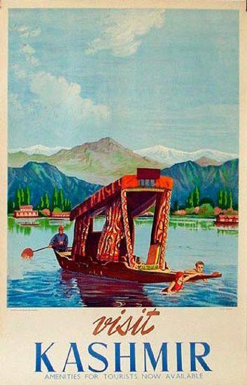 DP Vintage Posters - Visit Kashmir Pole Boat India Original Vintage Travel Poster