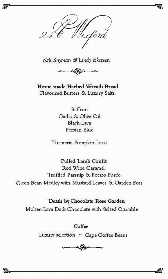 Our Fusion Dinner Party Menu