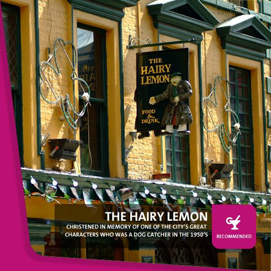 The Hairy Lemon Pub, Stephens Street, Lower Dublin, Republic of Ireland.  This pub is as unconventional as it's namesake who was one of the city's great characters who was a dog catcher in the 1950's. This is a most enjoyable drinking establishment just like the character the pub was christened in memory of the dog catcher who had a lemon shaped visage and a stubble of gooseberry like hair.  If you are in Dublin this is a must stop and it is becoming one of Dublin's Trendiest Pubs.  Cheers.