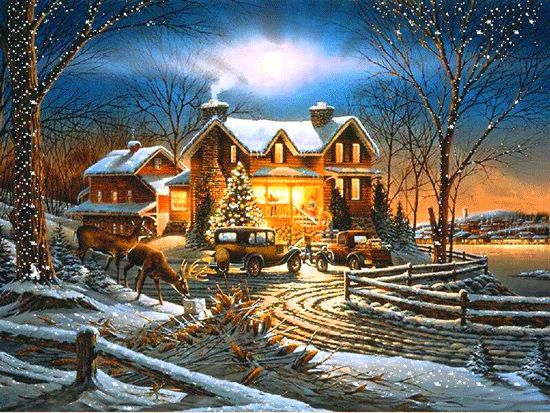 Animated Christmas GIF with house and trees under snowfall that suitable for PowerPoint slide background in holiday season theme