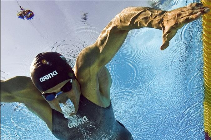 Dániel Gyurta competing in the 200 metres Breaststroke at the 2009 Fina World Aquatics Championships in Rome - The Hungarian swimmer set a European Record of 2:07.64 in the final to win the Gold Medal.