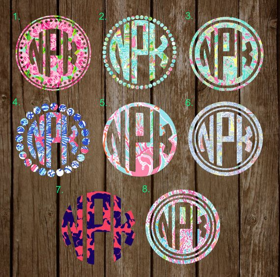 Lilly Pulitzer Monogram Inspired decal, Monogram sticker, ETSY BY NATSNICHEBYNATALIE preppy sticker, greek letters monogram, circle monogram, laptop decal, car decal