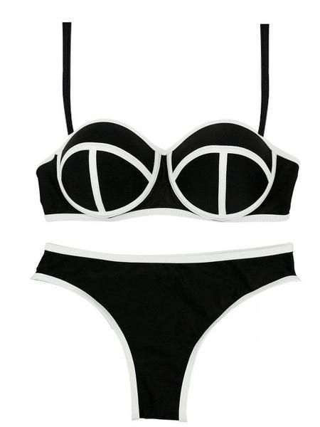 Women Sexy Bright Color Bikini Sets Neoprene Push Up Swimsuit