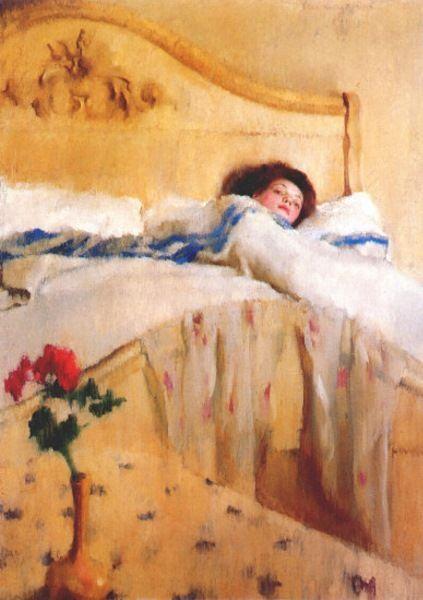 "La convaleciente (""The convalescent""). Lillian Westcott Hale. 1906. Localización: Sheldon Museum of Art, University of Nebraska-Lincoln (Estados Unidos). https://painthealth.wordpress.com/2016/03/11/la-convaleciente-2/"