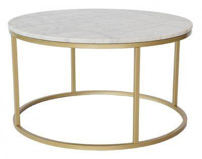 Accent soffbord marmor runt, Ø85, vit/mässing