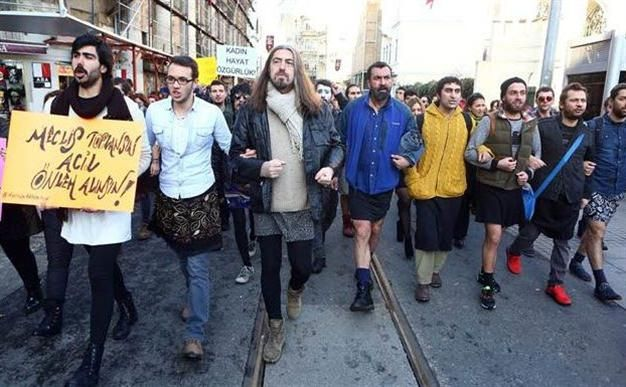 Turkish men take to the streets and utilize social media, posting themselves wearing skirts to protest sexual violence and assault.