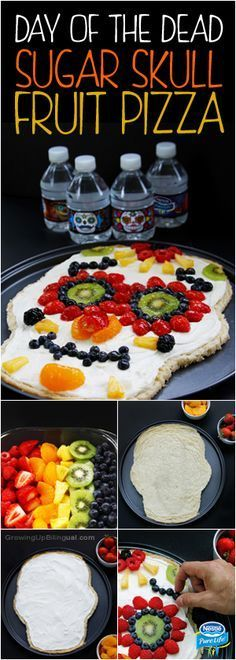 Give your Halloween a healthy twist with a Day of the Dead Sugar skull fruit pizza. This recipe is the perfect sweet treat for your Halloween party and is loaded with fresh fruit and yogurt based cream cheese frosting – the kind of treat your kids will want to eat. Get inspired by the sugar skull designs on the Nestlé®️️ Pure Life®️️ Limited Edition Share-A- Scare™️ Halloween bottles and try this delicious DIY from Growing Up Bilingual today!