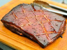 Smoked Pork Belly Marinated in Char Siu Sauce (recipe for sauce on my Pork board)