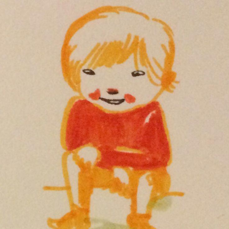 Girl, markers and fineliner, by Marie Åhfeldt, Mås Illustra