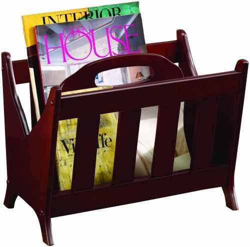Coaster Magazine Rack, Cherry by Coaster Home Furnishings. $78.99. Transitional design. Handle. 17-Inch by 12-inch by 13-inch. Cherry finish. Slated sides. Cherry magazine rack.. Save 12% Off!