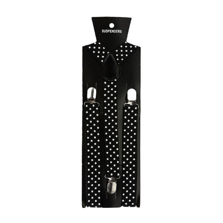 Hosenträger Unisex verstellbar Y -Form - schwarz - weiß gepunktet in Bekleidung Accessoire  • Hosenträger