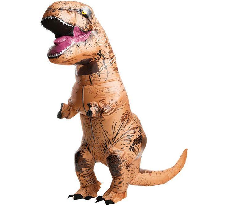 Disfraz de T-Rex. Un tiranosaurio hinchable que dará mucho juego en tus fiestas. ¿Te atreves con una despedida de solter@ jurásica? Este disfraz hinchable de dinosaurio es última tendencia.