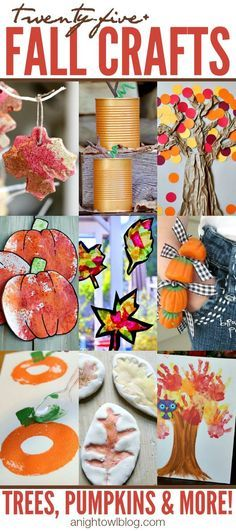 Get ready for Fall with these awesome Fall Crafts for Kids - trees, pumpkins and…