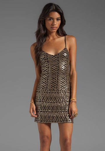 DV by DOLCE VITA Bibi Tribal Sequins Dress in Black/Gold