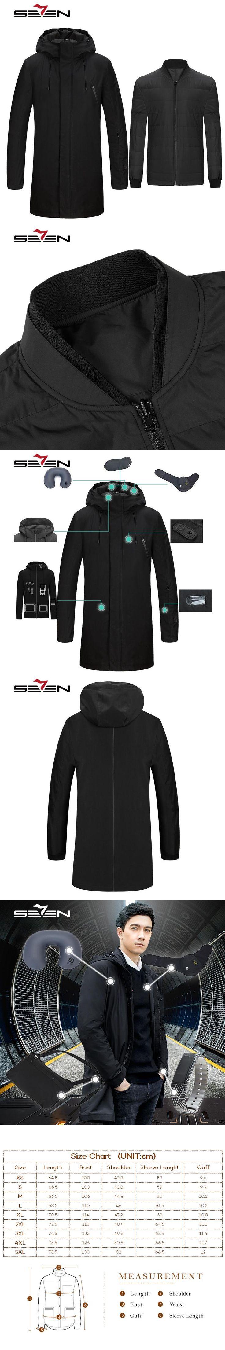 Seven7 Fashion Long Travel Jacket Men Smart Down Jacket Inner Parka Tablet Pockets Band Pillow Eye Mask Built-in Glove 113K20440
