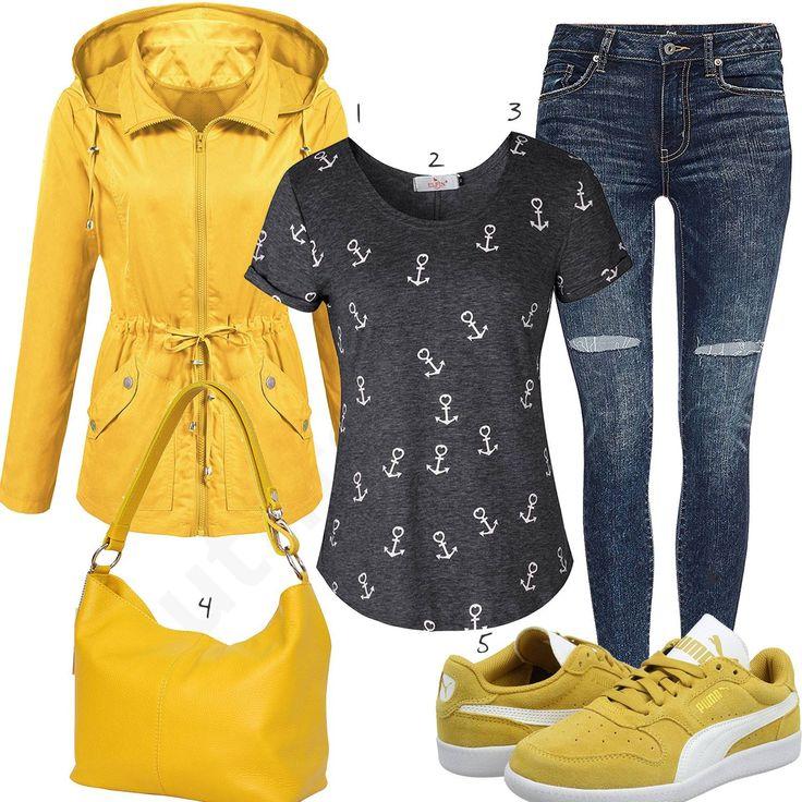 Gelbes Damenoutfit mit Jacke, Sneakern und Handtasche (w0989) #gelb #jacke #puma #sneaker #jeans #outfit #style #fashion #womensfashion #womensstyle #womenswear #clothing #frauenmode #damenmode #handtasche  #inspiration #frauenoutfit #damenoutfit