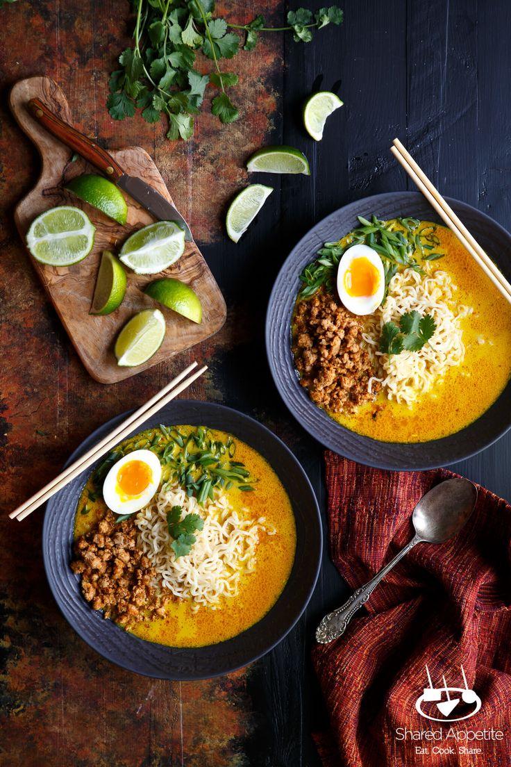 Maiale Spicy Thai curry di cocco Ramen a base di zuppa di Khao Soi |  sharedappetite.com