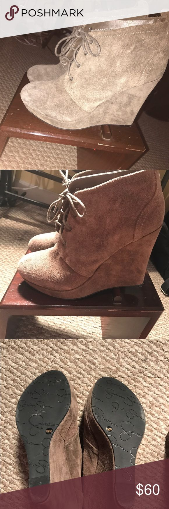 Jessica Simpson Wedge Boots Size 9. Heel is about 4 1/2 inches. Worn a couple times. No trades or ppal. No flaws on shoes. bottom is a little worn from wear. Willing to negotiate Jessica Simpson Shoes Ankle Boots & Booties