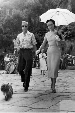 JULY 17 1951 - The Duke and Duchess of Windsor in Portofino with their dog Thalmet.
