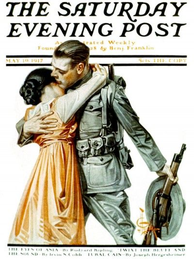 "J. C. Leyendecker - The Saturday Evening Post Magazine cover (May 19, 1917) ""Woman Kissing Soldier Goodbye"""