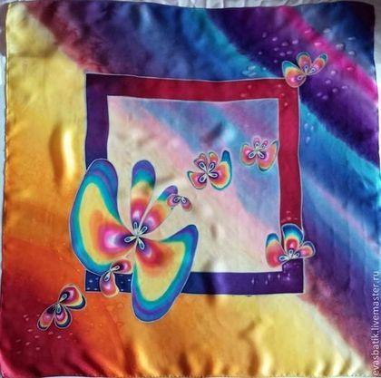 Платок батик шелковый Космические бабочки - подарок девушке,абстракция