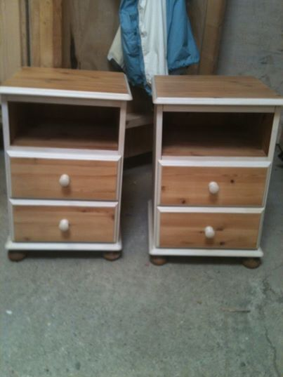 2 hand painted bedside cabinets