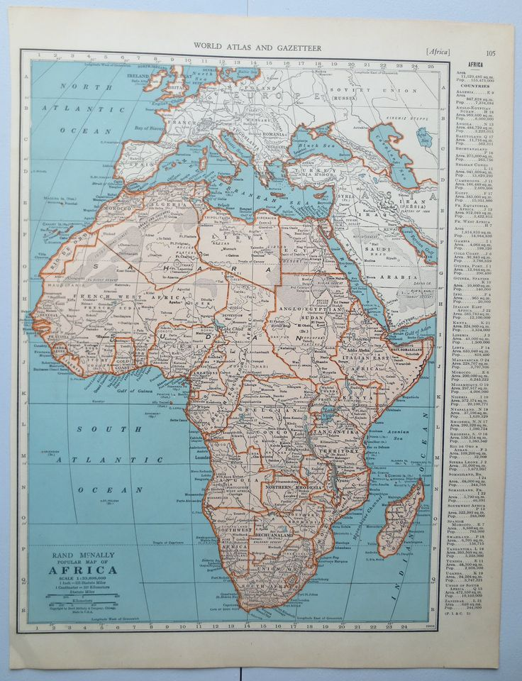 Vintage 1943 Collier's Atlas book print of Africa with Egypt on reverse side, Map, Classroom, Wall Decor, Den, School, Living Room by Edkaris on Etsy