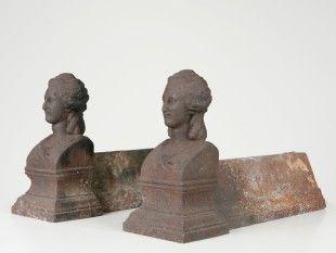 147 Kaminbock-Paar Gusseisen. H 19,5 cm. B 9,6 cm. L 33,5 cm.