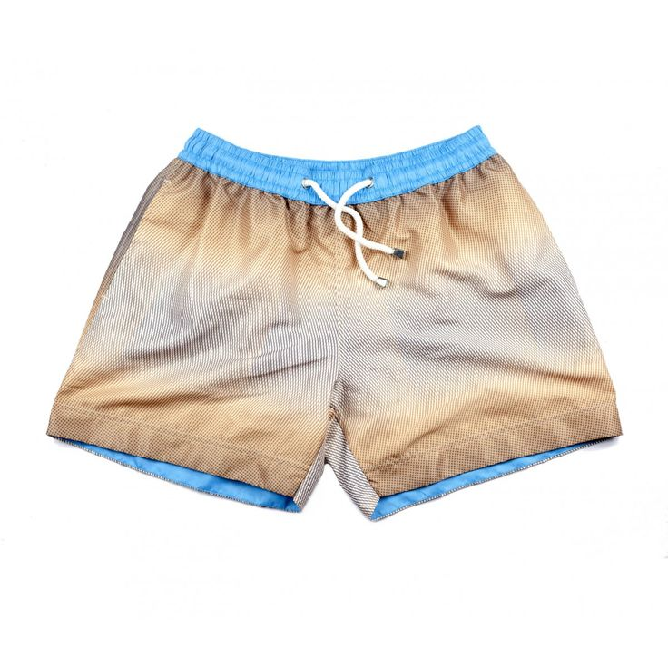 MONACO SQUARE SHORTS | These beige, graphic printed swim shorts, 'Monaco' are named after the coolest city in France. Shop the collection at thomasroyall.com