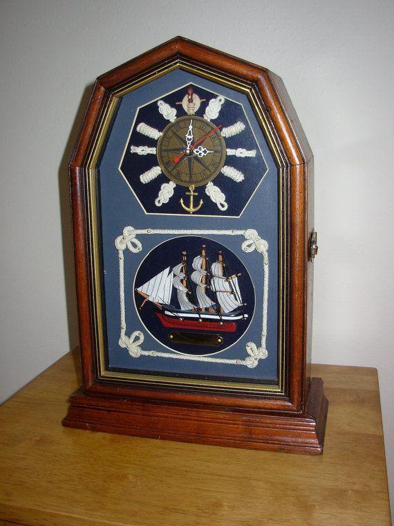Vintage Nautical Mantel Clock Chest by SeaMyNauticalVintage
