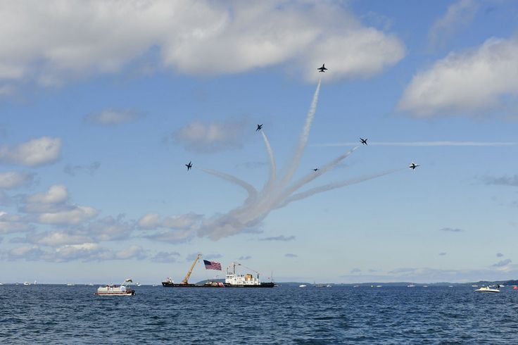The Coast Guard Cutter Bristol Bay serves as center point for the U.S. Air Force Thunderbirds during the annual National Cherry Festival Air Show in Traverse City, Michigan, July 1, 2017. Aircraft from the U.S. Coast Guard, Canadian Air Force, U.S. Navy and local agencies also performed before thousands of people along Traverse City's waterfront. (U.S. Coast Guard photo by Master Chief Petty Officer Alan Haraf)