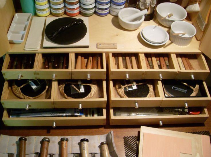 Paul Ritscher Mokuhanga Work Station | Flickr | The cabinet has plenty of drawers which are the perfect size for the different tools necessary for color woodblock printmaking. The top row holds the small carving tools, the second row contains four hand-made barens used to achieve impression, and the bottom drawers hold brushes, drawing tools, and other miscellaneous items. https://flic.kr/p/y7Ga3U |