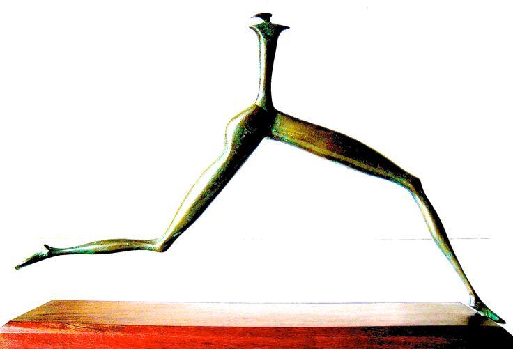 Runner inspired by Khoisan drawing - cast bronze - limited edition - r. rosenberg