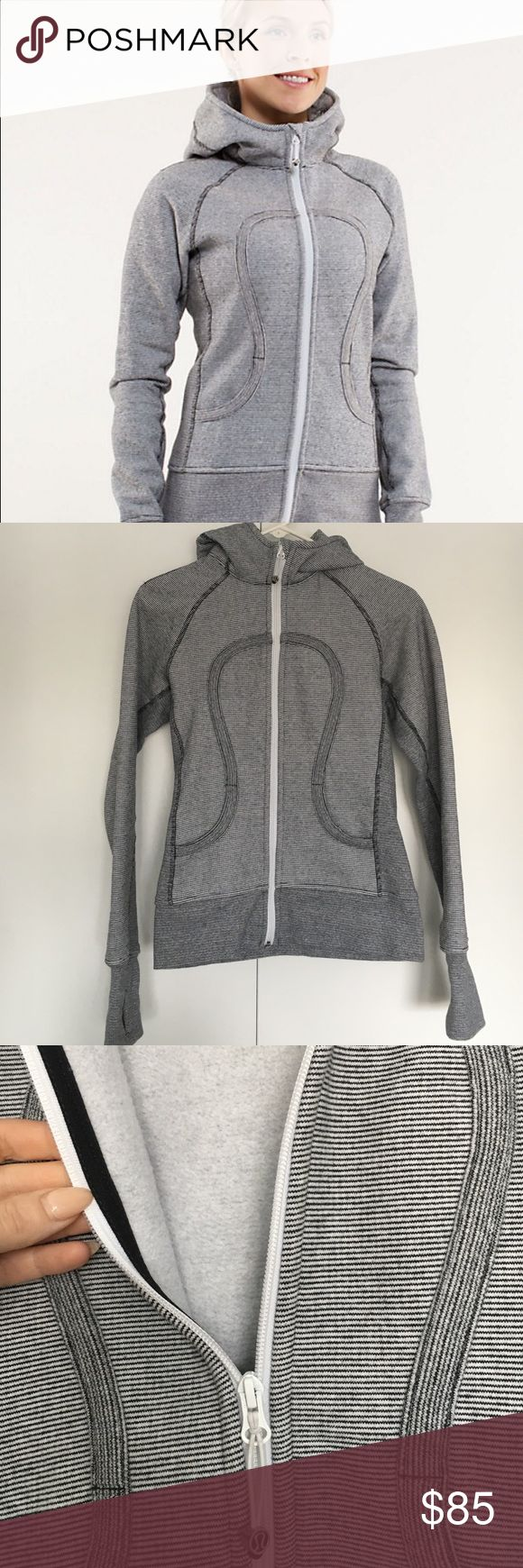 Lululemon Scuba Hoodie Micro Black and White Perfect condition, like new! The fabric is a micro striped black and white pattern lululemon athletica Sweaters