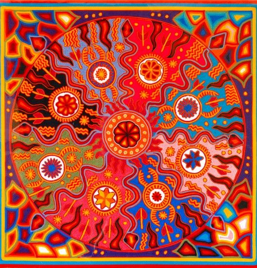"Jose Benitez Sanchez    ""He is undoubtably the best recognized and prolific of all the Huichol Artist.  His classic style has been exhibited in the finest museums the world over.  He was  born in 1938 in the Huichol village of Wautua and trained as a Shaman. His work shows the physical world interacting with the spiritual in the lines of energy linking them together. Every painting is filled powerful images. He passed in July 2009."""