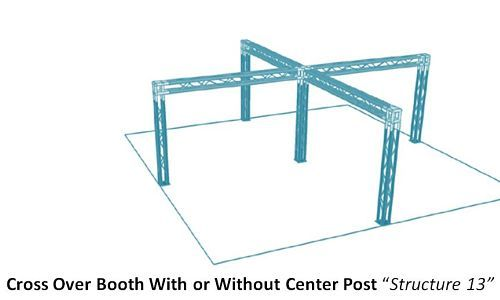 Cross Over Exhibit Truss Booth with or without center post. #tradeshowbooths #exhibittruss #displaytruss
