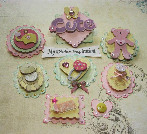 Tarjeta de bebé niña papel Adorno, adornos de Scrapbook, Mini álbum adornos, adornos para niñas